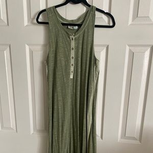 NWT olive tank MAXI from ANTHROPOLOGIE- cute deets